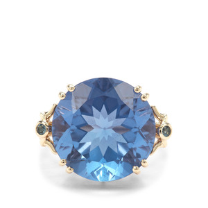 Colour Change Fluorite & London Blue Topaz 9K Gold Ring ATGW 17.86cts