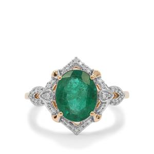Zambian Emerald Ring with Diamond in 18K Gold 2.75cts
