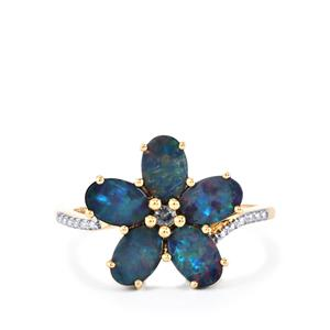 Crystal Opal on Ironstone Ring with Color Change Garnet in 10k Gold