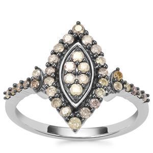 Multi-Colour Diamond Ring in Sterling Silver 0.51ct
