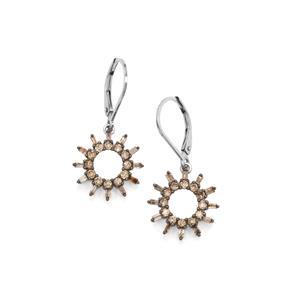Champagne Diamond Earrings in Sterling Silver 1ct