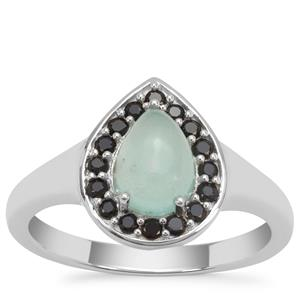 Aquaprase™ & Black Spinel Sterling Silver Ring ATGW 1.58cts