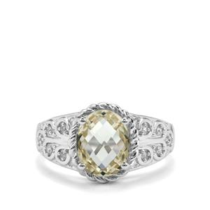 Serenite & White Zircon Sterling Silver Ring ATGW 2.76cts
