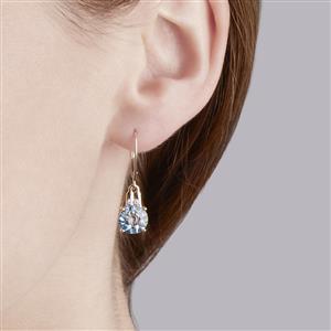 Lehrer QuasarCut London Blue Topaz & Diamond 10K Gold Earrings ATGW 4.06cts