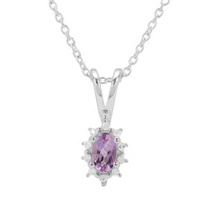 Rose du Maroc Amethyst Pendant Necklace with White Zircon in Sterling Silver 0.25ct