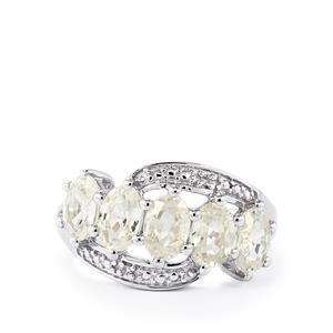 3.76ct Singida Tanzanian & White Zircon Sterling Silver Ring