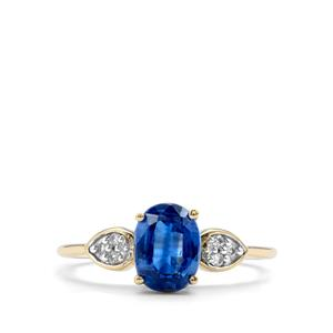 Daha Kyanite & White Zircon 10K Gold Ring ATGW 1.71cts