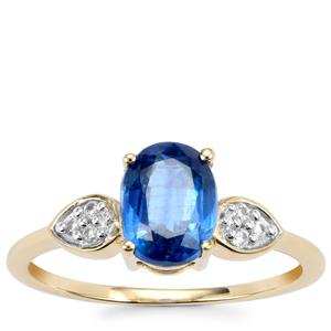 Daha Kyanite Ring with White Zircon in 10k Gold 1.71cts