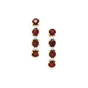 Cruzeiro Rubellite Earrings with White Zircon in 9K Gold 1.31cts
