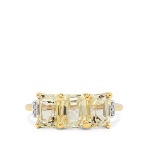 Minas Gerais Canary Kunzite & Diamond 9K Gold Ring ATGW 3.95cts