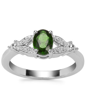 Chrome Diopside Ring with White Zircon in Sterling Silver 0.84ct