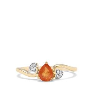 Mandarin Garnet & White Zircon 9K Gold Ring ATGW 0.85ct