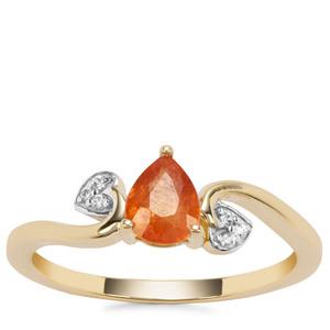 Mandarin Garnet Ring with White Zircon in 9K Gold 0.85ct
