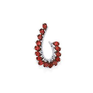 Rajasthan Garnet Pendant with Diamond in Sterling Silver 3.94cts