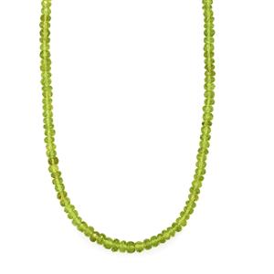 Hunan Peridot Bead Necklace with Magnetic Lock  in Sterling Silver 79cts