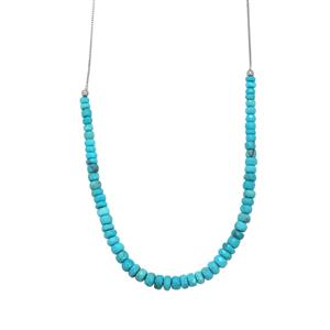 40ct Sleeping Beauty Turquoise Sterling Silver Slider Graduated Bead Necklace