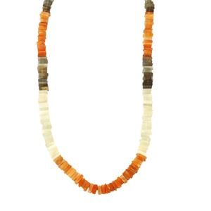 150ct Multi-Colour Moonstone Sterling Silver Graduated Bead Necklace