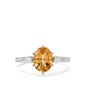 Mansa Beryl & White Zircon 9K Gold Ring ATGW 1.83cts
