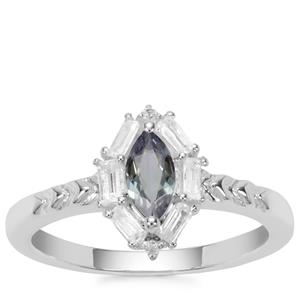 Bi Colour Tanzanite Ring with White Zircon in Sterling Silver 0.81ct