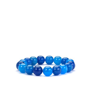 237ct Burmese Blue Jade Stretchable Bracelet