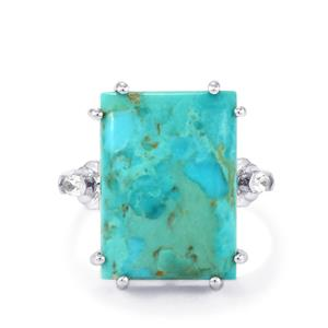 Cochise Turquoise Ring with White Topaz in Sterling Silver 12.65cts