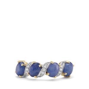 Burmese Blue Sapphire & White Zircon 9K Gold Ring ATGW 3.25cts