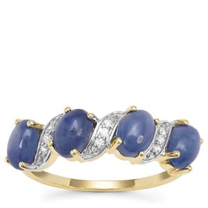 Burmese Blue Sapphire Ring with White Zircon in 9K Gold 3.25cts