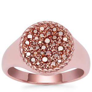 Red Diamond Ring in Rose Gold Plated Sterling Silver 0.51ct