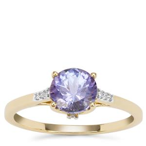 AA Tanzanite Ring with Diamond in 9K Gold 1.36cts