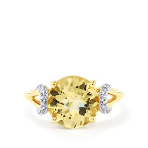 Xia Heliodor & White Zircon 10K Gold Ring ATGW 3.32cts