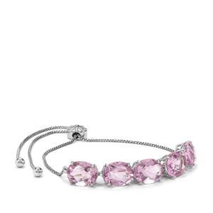 15.79ct Natural Pink Fluorite Platinum Plated Sterling Silver Slider Bracelet