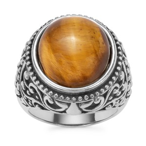 Tiger's Eye Ring in Pewter 10.93cts