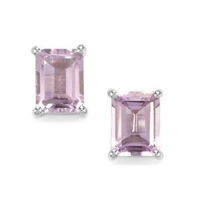 2.87ct Rose De France Amethyst Sterling Silver Earrings