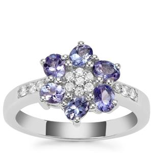 Tanzanite Ring with White Zircon in Sterling Silver 1.22cts