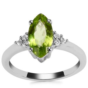 Changbai Peridot Ring with White Topaz in Sterling Silver 1.87cts