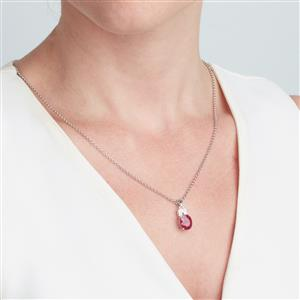 Malagasy Ruby Pendant with White Topaz in Sterling Silver 3.31cts (F)