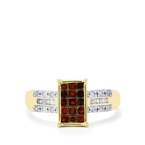 Red Diamond Ring with White Diamond in 10k Gold 0.76ct
