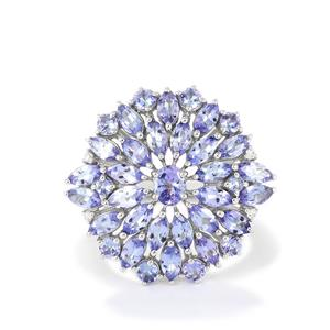 AA Tanzanite Ring with White Zircon in Sterling Silver 2.35cts