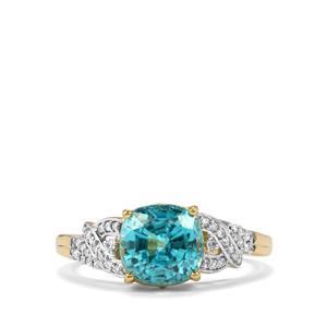 Ratanakiri Blue Zircon Ring with Diamond in 18K Gold 3.83cts