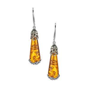 Baltic Cognac Amber Earrings in Sterling Silver (27 x 10mm)