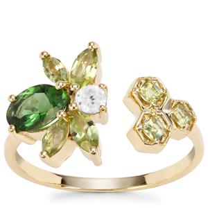 Chrome Tourmaline, Changbai Peridot Bee Ring with White Zircon in 9K Gold 1.51cts