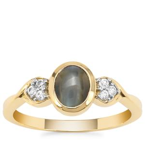 Cats Eye Alexandrite Ring with White Zircon in 9K Gold 1.57cts