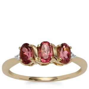 Pink Tourmaline Ring with White Zircon in 9K Gold 0.70ct