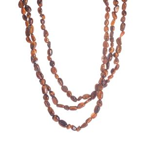 Yellow Tiger's Eye 3 Strand Necklace in Sterling Silver 284.40cts