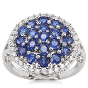 Daha Kyanite Ring with White Zircon in Platinum Plated Sterling Silver 3.71cts
