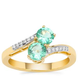 Ethiopian Emerald Ring with Diamond in 18K Gold 0.93ct