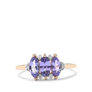 AA Tanzanite & Diamond 9K Gold Ring ATGW 1.14cts