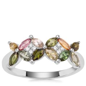 Tutti-Fruiti Tourmaline Ring with White Zircon in Sterling Silver 1.04cts