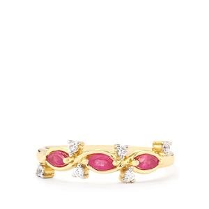 Thai Ruby Ring with White Zircon in 10k Gold 0.42cts