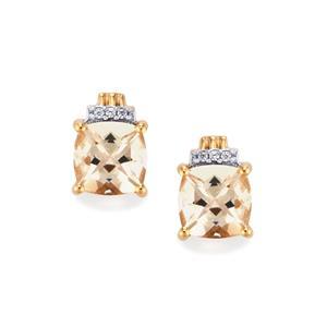 Mutala Morganite & White Zircon 10K Rose Gold Earrings ATGW 2.55cts